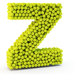 3D letter Z made from tennis balls