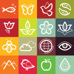 Vector flat icon set - nature, flora and fauna