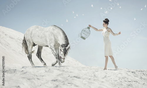 Fine shot of the sensual lady with the horse