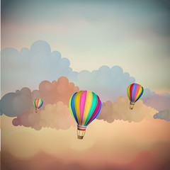Vintage Airballons on the sky, Vector Background