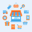 Flat vector icons - shopping concept