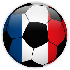 France Flag with Soccer Ball Background