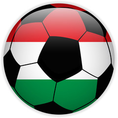 Hungary Flag with Soccer Ball Background