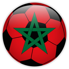 Morocco Flag with Soccer Ball Background