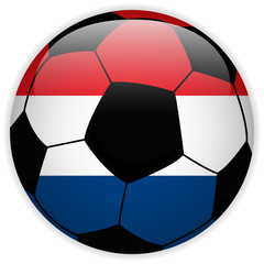 Netherlands Flag with Soccer Ball Background