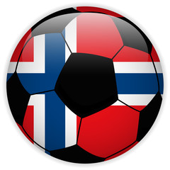Norway Flag with Soccer Ball Background