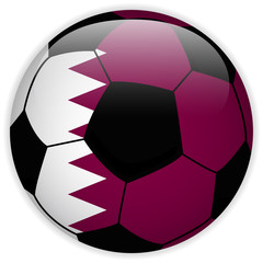 Qatar Flag with Soccer Ball Background