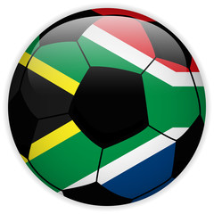 South Africa Flag with Soccer Ball Background