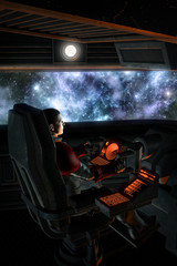Futuristic astronaut pilot and starfield nebula