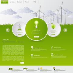 Green eco vector website template with lighbulb