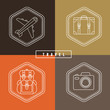 Vector flat travel badges in outline style