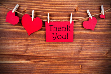 Thank You on a Tag with Hearts
