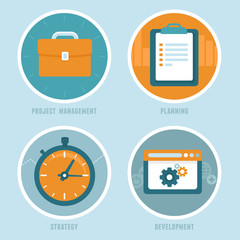 Vector project management concepts in flat style