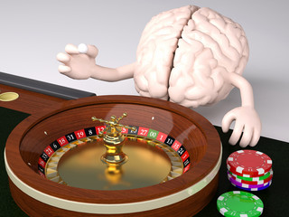 human brain behind roulette table in a casino