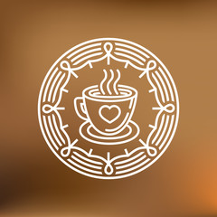 Vector coffee mug on round emblem