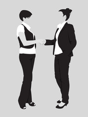 Detailed business woman handshake silhouettes
