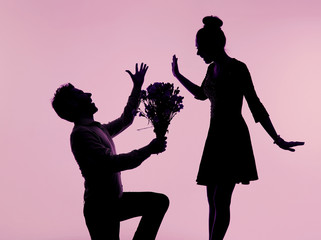 Spectacular proposal with the buquet of the roses