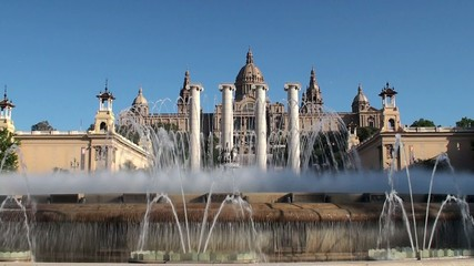 Palau Nacional,  Four Columns & Magic Fountain at Barcelona