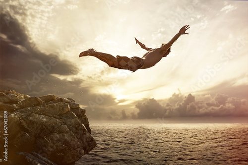 canvas print picture Cliff Diver