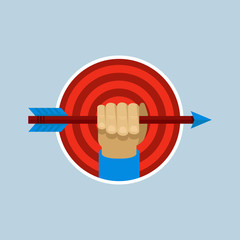 Vector target and hand holding arrow in flat style