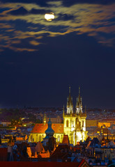 Night Prague view. Full moon.