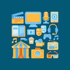 Vector media and entertainment icons in flat style