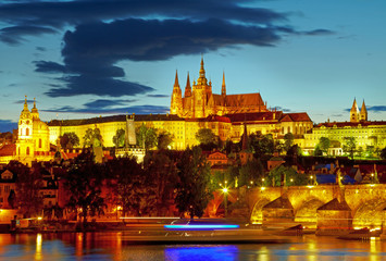 Lights of Prague Castle. Czech republic. HDR