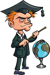 Cartoon crazy teacher with a stick and a globe
