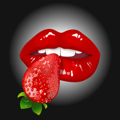 lips with strawberry