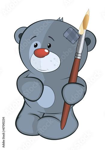 The stuffed toy bear cub the artist cartoon