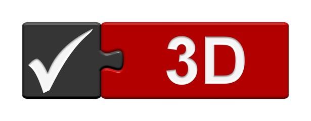 Puzzle-Button schwarz rot: 3D