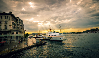 Ferry at harbor Karakoy, Istanbul