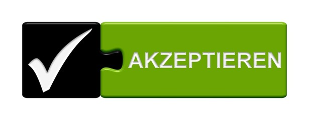 Puzzle-Button schwarz grün: Akzeptieren