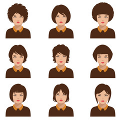 avatar people icon, woman face parts, head character