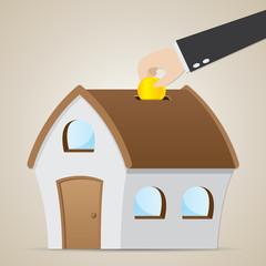 cartoon businessman drop coin in house bank