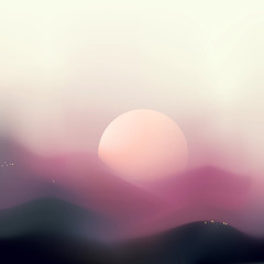 Abstract sunrise mountain landscape