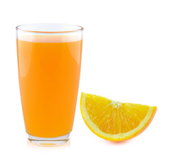 orange juice with oranges isolated on white