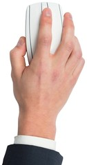 Hand using a white mouse
