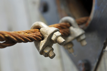 Rusty steel wire rope cable and locker