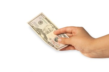 Female hand holding money dollars