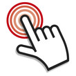 Hand icon pointer. RED