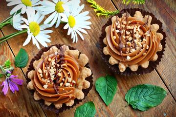 Two caramel cupcakes
