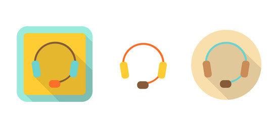 headset, simple retro icon in flat style
