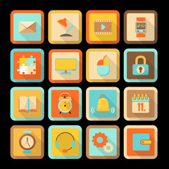 set of flat colorful icons