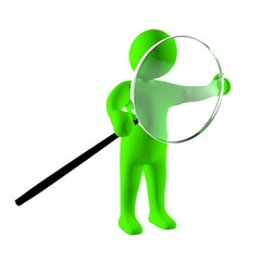 3d man investigate with magnifying glass