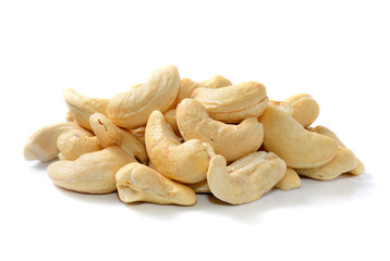 cashew nuts in isolated white background