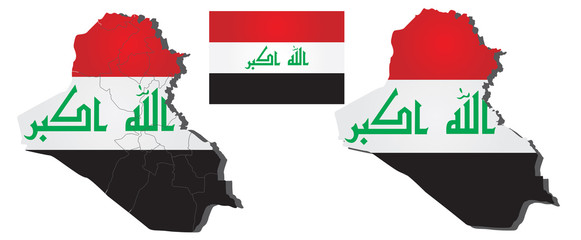 Vector map of Iraq filled with flag of the state