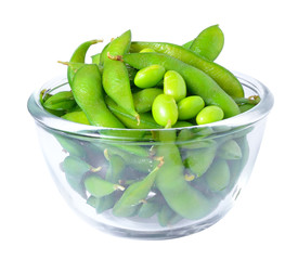 Edamame soy beans shelled in glass bowl