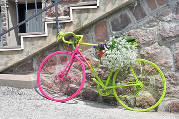 Colorful bike with flowers