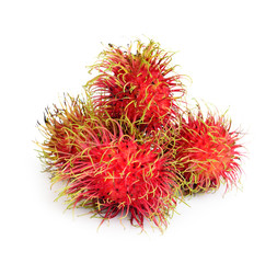 Tropical fruit rambutan with white background